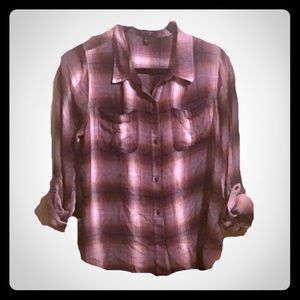 Jessica Simpson High/Low Flannel Button Down